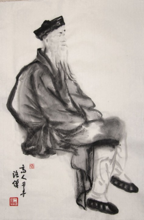 """taoist priest"" Zen brush painting by Yi-Xiong Gu 古一雄"