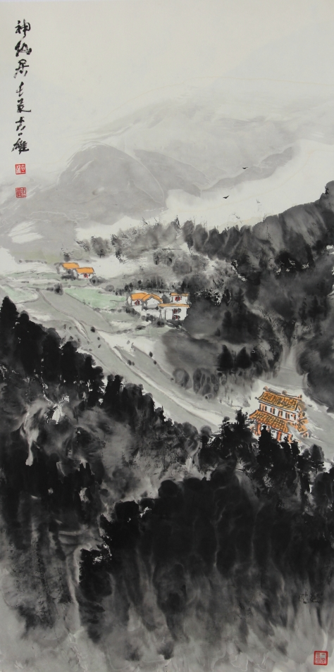 Ink brush painting by Yi-Xiong Gu 古一雄