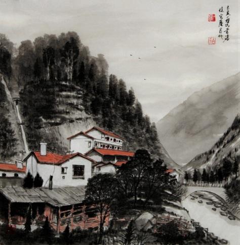 Ink brush painting by Yi-Xiong Gu